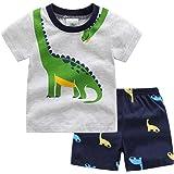 Conjunto Bebé Niños Verano Traje de 2 Piezas Top Camiseta de Manga Corta + Pantalón Corto T-Shirt y Shorts Algodón Dibujos An
