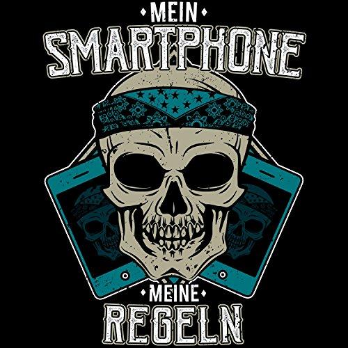Fashionalarm Herren T-Shirt - Mein Smartphone - Meine Regeln | Fun Shirt mit Totenkopf Motiv & lustigem Spruch für Handy Nutzer Mobil Telefon Schwarz
