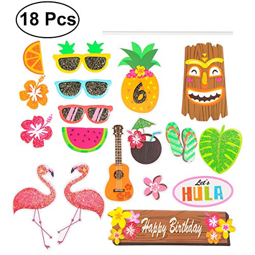BESTOYARD 18pcs Hawaiian Cake Toppers Birthday Cupcake Picks Tropical Luau Party Decoration