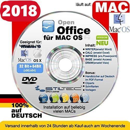 Open OFFICE Premium Professional 2018 MAC 32/64 Bit Schreibprogramm Textverarbeitung Software [auf DVD] MAC OS X