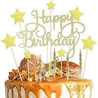 Lifreer Décorations de gâteau d'anniversaire dorées avec étoiles pailletés - Avec 10 bougies dorées pour fête d…