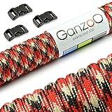 Ganzoo Paracord 550 Seil 15m +3X Klickverschluss, Armband, Leine, Halsband, Starter-Set
