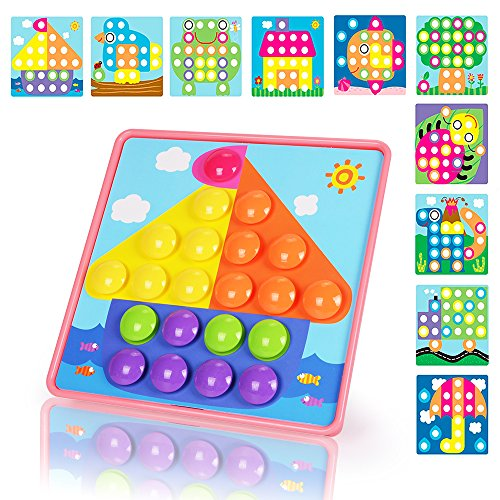 NextX Kids DIY Jigsaw Puzzle Game Button Art Pegboard Preschool Educational Creative Toys Gift for Toddler Boys & Girls