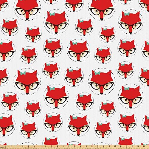 ABAKUHAUS Fuchs Microfaser Stoff als Meterware, Cartoon-Hipster-Brille, Deko Basteln Polsterstoff Textilien, 2M (160x200cm), Mintgrün Beige Rot