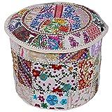 Stylo Kultur Baumwolle Weiß Patchwork gestickte osmanische Pouf Abdeckung Floral Hocker Stuhl