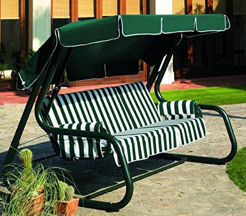 Ideapiu Balancelle de Jardin Transformable en lit, balancelle de Jardin 4 Places, Bascule Master Scab, lit Balancelle Vert Revêtement à Rigoni Verts