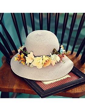 LVLIDAN Sombrero para el sol del verano Dama SolAnti-sol Fishermanstrawhat milkywhite