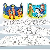 Baker Ross Couronnes Nativité à colorier Que Les Enfants pourront fabriquer, décorer et Personnaliser - Activité créative de Noël pour Enfant (Lot de 6)