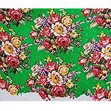 "Tela bordada verde Algodón Material 42 ""Wide Craft Tela de costura Por 1 Yard"