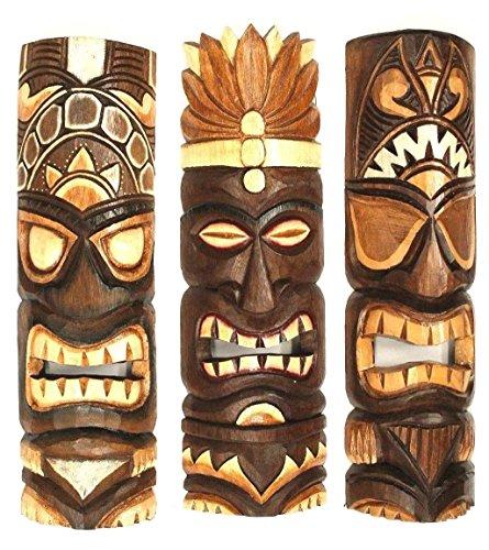 3 Tiki Wandmasken 50 cm Hawaii Maske aus Holz Wandbrett Wandschild Südsee (Tiki Masken)