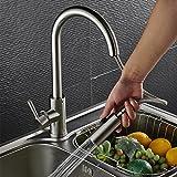 Auralum Chrom Küche Mischbatterie Einhandhebelmischer 304 Edelstahl Küchenarmatur für Kalt-warmwasser 360 ° -Drehung Waschtisch Waschbeck Armatur