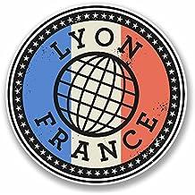 2x 10cm Lyon Francia vinilo adhesivo Laptop Viaje Equipaje Label Día French # 9850