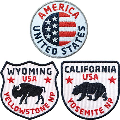 Club of Heroes 3er-Set USA + Rocky Mountains + Wyoming Abzeichen gestickt 60 mm/United States Nord-Amerika Amerika Flagge Wappen Reisen/Aufnäher Aufbügler Flicken Sticker Patch/Reiseführer Buch Karte -
