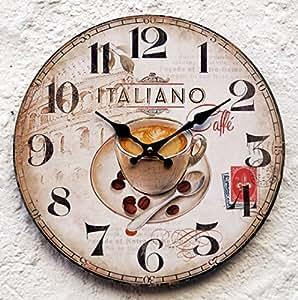 Horloge murale en forme de tasse de café pour la cuisine motif italie crème jaune restaurant décoratif motif rétro