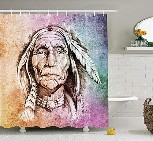 Nyngei Ureinwohner-Duschvorhang-Porträt des Stammes- Leiters mit ethnischem Federband-Aquarell-Art-Bild-Gewebe-Badezimmer-Dekor-Satz mit den Hellorange