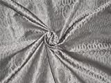 Seide Brokat Liturgische Kleidung Stoff 111,8cm grau x