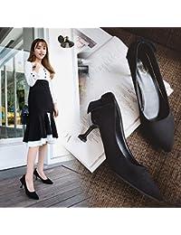 Xue Qiqi Zapatos de Boda Roja Señalaron los Zapatos de Tacón Alto Chica Dama Elegante Zapatos con Wild, Zapatos...
