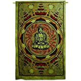 [Sponsored]Green Lotus Buddha Psychedelic Yoga Wall Hanging Cotton Poster Wall Decor, Home Decor, Poster For Boys Room, Girls Room, Poster For Motivation