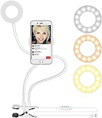 """Neewer Luce Anulare con Supporto per Smartphone per Trasmissione in Diretta Streaming, Luce Dimmerabile (Luminosità in 3 Modi & 8 Livelli) a Scatto per Selfie con Morsa """"Lazy Bracket"""" per YouTube, Facebook, iPhone 8/7/6S, Samsung, HTC (Bianco)"""