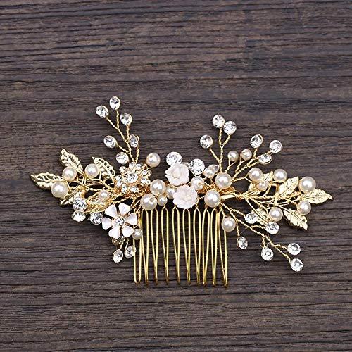 Littlefairy Bridal Ornament Legierung Gold Leaf Kamm Kopfschmuck Hochzeit Kleid Haarschmuck Kamm Haarschmuck -
