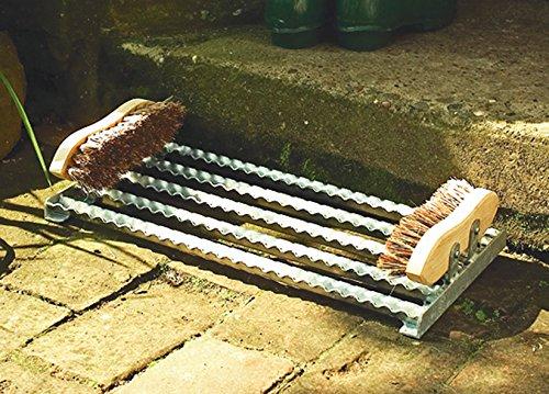 Schuhabtreter mit Bürsten Schuhputzer Schuhabstreifer Fußabtreter aus verzinktem Stahl L50xB24xH8 cm von Gartenwelt Riegelsberger
