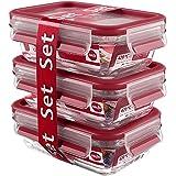Emsa Clip & Close Glas 3-teilig rot Set 3 x 0, 5 Liter Frischhaltedose, Kunststoff, 17.5 x 12.5 x 17.8 cm, 3-Einheiten