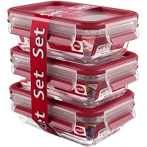 Emsa 517922 Clip & Close 3-teiliges Frischhaltedosen-Set, Fassungsvermögen: 0,5 Liter, Material: Glas, rot Rote Gläser