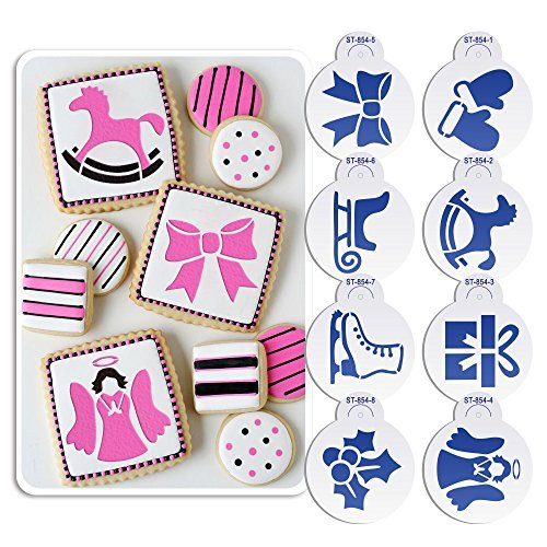 ART Kitchenware 8pcs Christmas Cookie Stencil Set Icing Royal Stencil Tool Gloves, Gift Box,Sleigh,Wooden Horse Stencils for Cake ST-854 Beige/Semi-Transparent by Art Kitchenware (Icing Cookie Christmas)