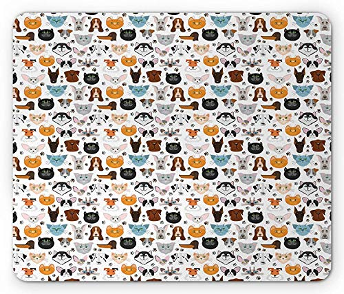 Animal Mouse Pad, Cat and Dog Faces Best Friends Whisker Bulldog Beagle Labrador Calico Kitty Print, Standard Size Rectangle Non-Slip Rubber Mousepad, Multicolor 9.8 X 11.8 inch Animal-print Combo