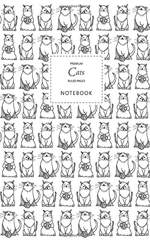 Cats Notebook - Ruled Pages - Premium: (Black and White Edition) Fun notebook / jotter with 96 ruled / lined pages - A5 / 5x8 inches / 12.7x20.3cm / Junior Legal Pad