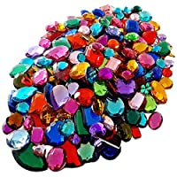 Gemstones For Kids Arts And Crafts, Craft Supplies Gems Coloured Jewellery, Treasure, Jewels 100g Assorted Shapes Colours Sizes