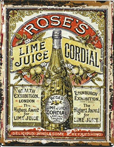 20,3x 25,4cm Rosen Lime Cordial Juice Metall Schild retro vintage Stil 20,3x 25,4cm 20x 25cm Pub Bar Drink Art Wand Spiele Raum Man Cave -