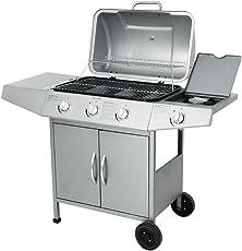 Broil-master Barbecue a gas BBQ 3+1 colore argento con attacco adatto per l'Italia, qualità, funzionalità e semplicità d'uso testati da TÜV Rheinland