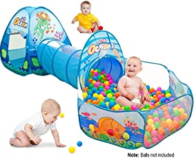 Playhood 3-in-1 Pop Up Play Tent House with Tunnel & Ball Pool for Kids - Ocean Theme (Balls not Included)