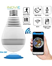 Inovics HD Audio Video Spy Bulb Camera WiFi Night Vision Wireless Camera Support 128 GB Memory Card with Hidden Bulb , 360 Degree Angle View for Home (Black)