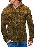 Tazzio Herren Strick-Jacke mit Melange Muster 16485 Khaki XXL (Textilien)
