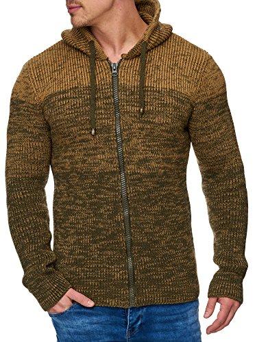 Tazzio Herren Strick-Jacke mit Melange Muster 16485 Khaki XL