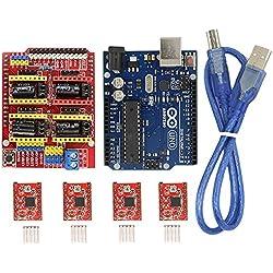 BIQU CNC Shield Tarjeta de expansión v3.0+ Uno R3junta para Arduino + A4988controlador de motor paso a paso con disipador kits para arduino