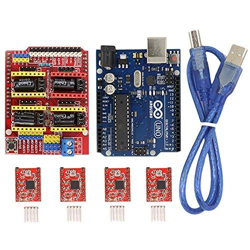 BIQU CNC Schild Expansion Board V3.0+ Uno R3Board für Arduino + A4988Stepper Motor Treiber mit Kühlkörper Kits für Arduino (Cnc-motor-kit)