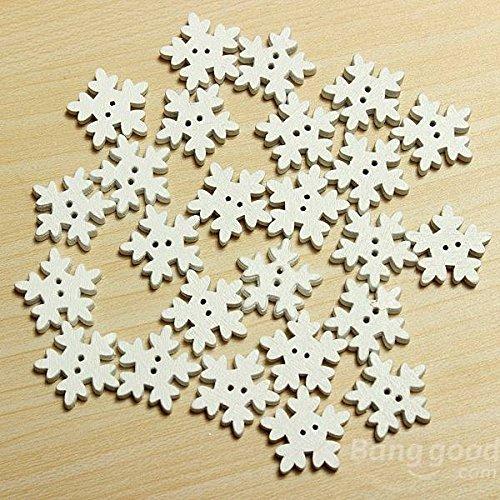 chten weiß Holz Schneeflocke Tasten 2Löcher DIY Nähen Craft ()