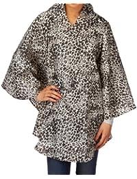 Totes Womens Mocha Leopard Print Rain Poncho With Self Front Pocket