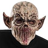 Carnival Toys 1446 - Maschera Zombie Horror in Lattice con Orecchie a Punta con Cavallotto, Chiaro