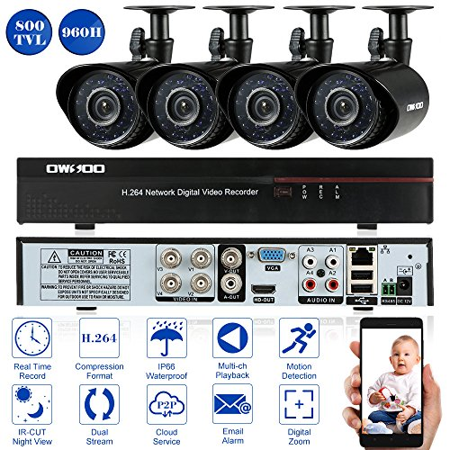 OWSOO Überwachungsset 960H/D1 CCTV Überwachung DVR Security System HDMI P2P Cloud Network Digital Video Recorder + 4 * Outdoor/Indoor Infrarot-Bullet-Kamera + 4 * 60ft Kabel Digital Network-security-system