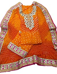 SRK Creation Women's Art Silk Bandhej Suit With Gota Patti Work With Crep Bottom (SN-364_Orange_Unstich 2.25 Mtr)