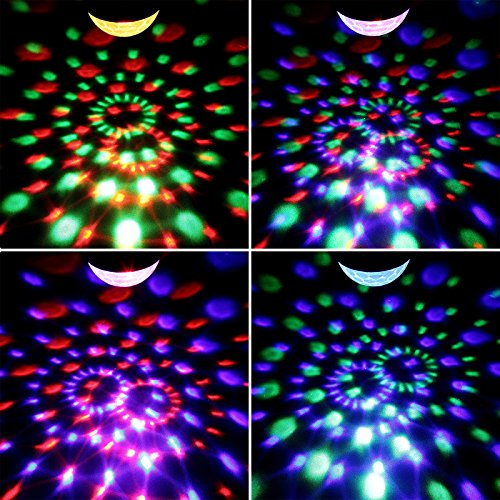 Yorbay LED Discokugel RGB Projektor Lichteffekte 7 Farben Party Lampe 5W Musikgesteuert mit Fernbedienung für Party Disco Bar Weihnachten Feier Halloween Dance DJ KTV Konzert - 3