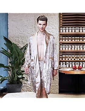 SUxian Gran Albornoz Impreso de los Hombres de la Manga Larga de la Camisola del Pijama de la Camisola del Albornoz...
