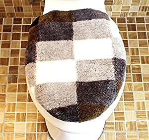 Motif carreaux marron pour abattant wc housse pour - Housse abattant wc ...
