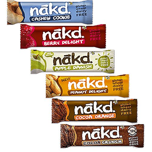 Nakd Barrita Pack de 6: Delicias de Baya 35g, Cacahuete y Cookie 35g, Cacao Crunch 35g, Cacao y Naranja 35g, Delicias de Cacahuetes 35g, Manzana Danés 30g (cada uno de 1)