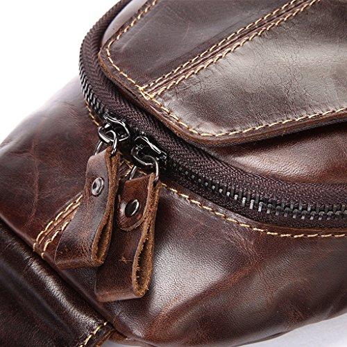 Umhängetasche Rindsleder Männer erste Schicht aus Leder Herren-Freizeit-Schultertasche Messenger Bag Brust Braun