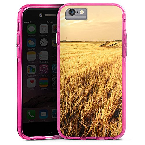 Apple iPhone 6 Bumper Hülle Bumper Case Glitzer Hülle Kornfeld Landschaft Feld Bumper Case transparent pink